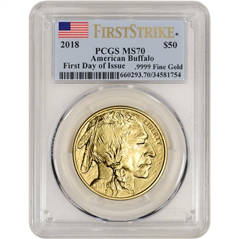 2018 American Gold Buffalo (1 oz) $50 - PCGS MS70 First Day Issue Flag Label