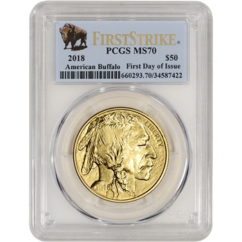 2018 American Gold Buffalo (1 oz) $50 - PCGS MS70 First Day Issue Buffalo Label