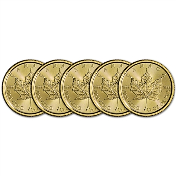 2018 Canada Gold Maple Leaf 1/4 oz $10 - BU - Five 5 Coins