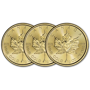 2018 Canada Gold Maple Leaf 1/2 oz $20 - BU - Three 3 Coins