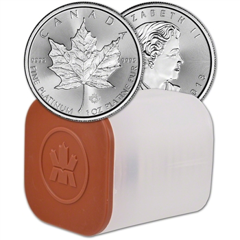 2018 Canada Platinum Maple Leaf 1 oz $50 - BU - 1 Roll Ten 10 Coins in Mint Tube