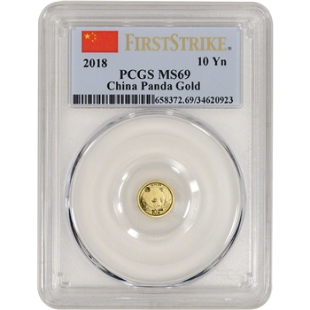 2018 China Gold Panda 1 g 10 Yuan - PCGS MS69 - First Strike