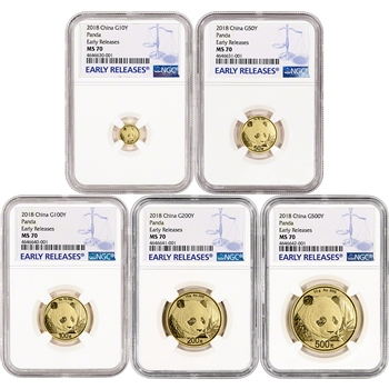 2018 China Gold Panda - 5-pc. Year Set - NGC MS70 Early Releases