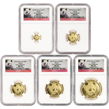 2018 China Gold Panda - 5-pc. Year Set - NGC MS70 Early Releases Panda Label