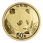 2018 China Gold Panda 3 g 50 Yuan - BU - Mint Sealed