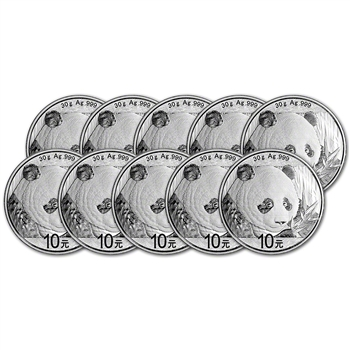 2018 China Silver Panda (30 g) 10 Yuan - BU in Original Capsule - Ten (10) Coins