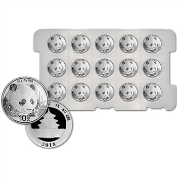 2018 China Silver Panda (30 g) 10 Yuan - BU Original Capsule - Tray of 15 Coins