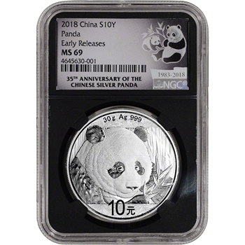 2018 China Silver Panda 30 g 10 Yuan - NGC MS69 - Early Releases 35th Ann Black