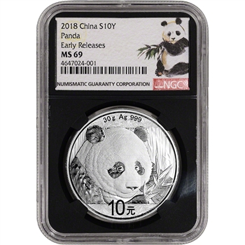 2018 China Silver Panda (30 g) 10 Yuan NGC MS69 Early Releases Ink Brush Black