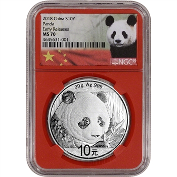 2018 China Silver Panda 30 g 10 Yuan - NGC MS70 - Early Releases Panda Label Red