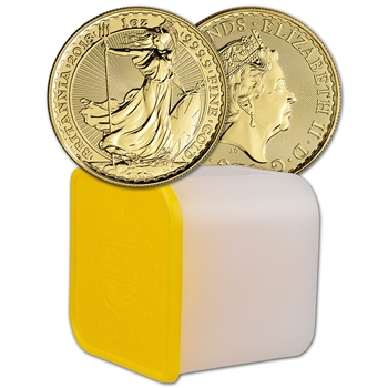 2018 Great Britain Gold Britannia ?100 - 1 oz - BU - Tube of Ten 10 Coins
