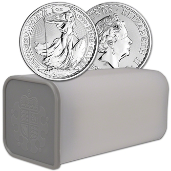 2018 Great Britain Silver Britannia ?2 - 1 oz - BU - 1 Roll - 25 Coin Mint Tube