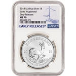 2018 South Africa Silver Krugerrand 1 oz 1 Rand - NGC MS70 - Early Releases