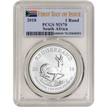 2018 South Africa Silver Krugerrand 1 oz 1 Rand - PCGS MS70 - First Day Issue