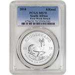 2018 South Africa Silver Krugerrand 1 oz 1 Rand - PCGS MS70 First Week Struck