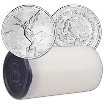 2018 Mexico Silver Libertad (1/2 oz) 1/2 Onza - 1 Roll - Twenty Five 25 BU Coins