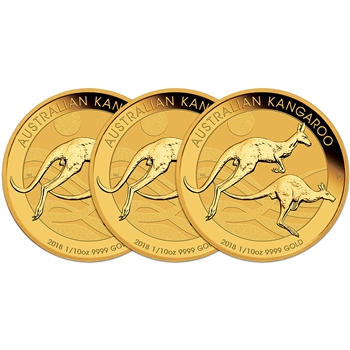 2018 P Australia Gold Kangaroo - 1/10 oz - $15 - BU - Three 3 Coins