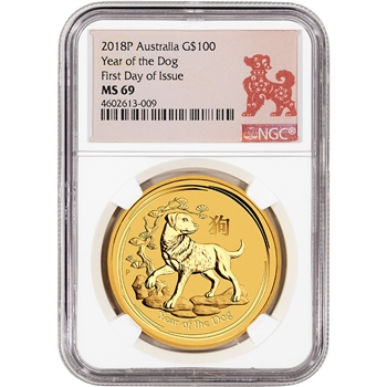 2018 P Australia Gold Lunar Dog (1 oz) $100 - NGC MS69 - First Day of Issue