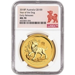 2018 P Australia Gold Lunar Year of the Dog 1 oz $100 - NGC MS70 Early Releases