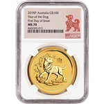 2018 P Australia Gold Lunar Dog (1 oz) $100 - NGC MS70 - First Day of Issue