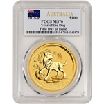 2018 P Australia Gold Lunar Year Dog 1 oz $100 - PCGS MS70 - First Day of Issue
