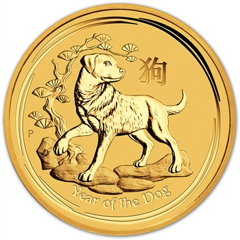 2018 P Australia Gold Lunar Year of the Dog (1/20 oz) $5 - BU