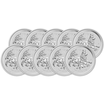 2018 P Australia Silver Lunar Year of the Dog (1 oz) $1 - BU - Ten 10 Coins