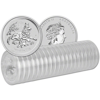 2018 P Australia Silver Lunar Year of the Dog (1 oz) $1 - 1 Roll 20 BU Coins