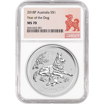2018 P Australia Silver Lunar Year of the Dog 1 oz $1 - NGC MS70 Lunar Label