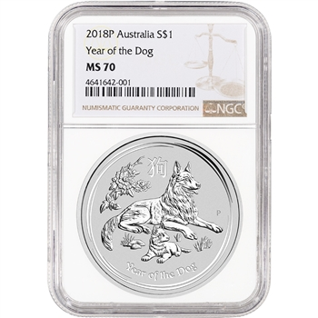 2018 P Australia Silver Lunar Year of the Dog 1 oz $1 - NGC MS70