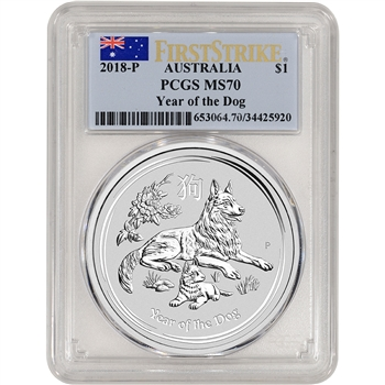 2018 P Australia Silver Lunar Year of the Dog 1 oz $1 - PCGS MS70 First Strike