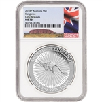 2018 P Australia Silver Kangaroo 1 oz $1 - NGC MS70 Early Releases Ayers Label