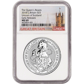2018 Great Britain Silver Queen's Beasts Unicorn ?5 - NGC MS69 Early Releases
