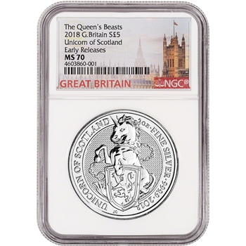 2018 Great Britain Silver Queen's Beasts Unicorn ?5 - NGC MS70 Early Releases