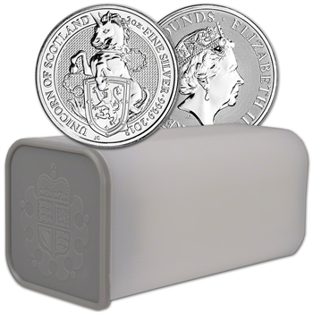 2018 Great Britain Silver Beasts Unicorn ?5 - 2 oz -1 Roll 10 Coins in Mint Tube