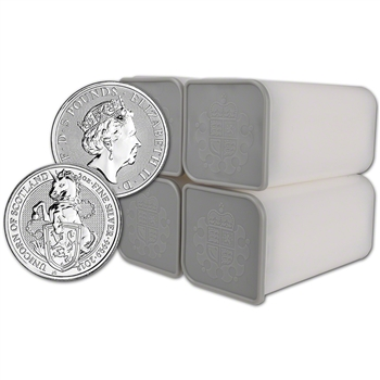 2018 Great Britain Silver Beasts Unicorn ?5 - 2 oz - 4 Rolls 10 Coins per Tube