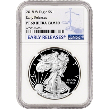 2018-W American Silver Eagle Proof - NGC PF69 UCAM Early Releases