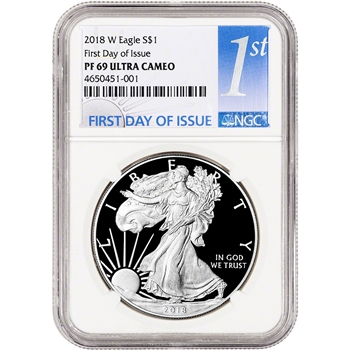 2018-W American Silver Eagle Proof - NGC PF69 UCAM First Day Issue 1st Label