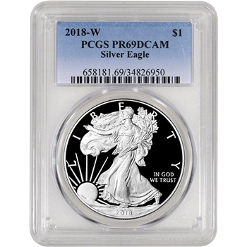 2018-W American Silver Eagle Proof - PCGS PR69 DCAM
