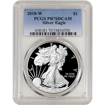 2018-W American Silver Eagle Proof - PCGS PR70 DCAM
