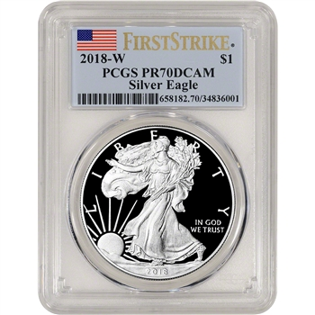 2018-W American Silver Eagle Proof - PCGS PR70 DCAM - First Strike