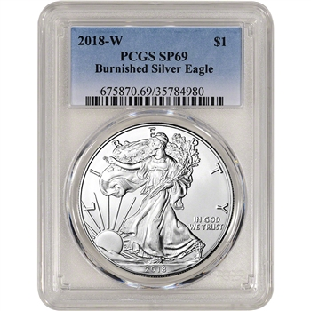 2018-W American Silver Eagle Burnished - PCGS SP69