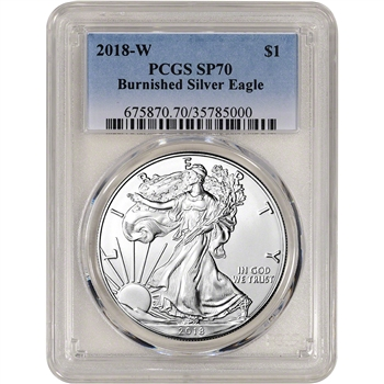 2018-W American Silver Eagle Burnished - PCGS SP70