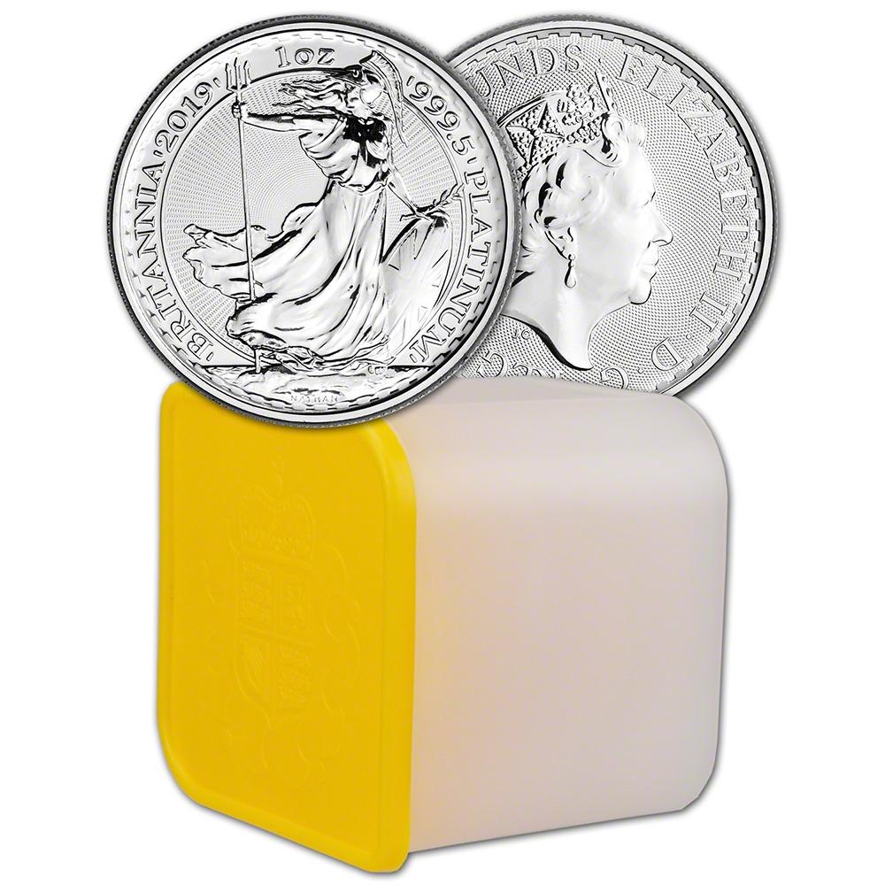 BU Ten 10 Coins in Mint Tube 2019 Great Britain Platinum Britannia £100-1 oz