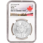 2019 Canada Silver Maple Leaf 1 oz $5 - NGC MS70 Maple Leaf Label