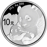 2019 China Silver Panda 30 g 10 Yuan - BU in Original Capsule
