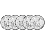 2019 South Africa Silver Krugerrand 1 oz 1 Rand - BU Five 5 Coins