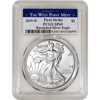 2019-W American Silver Eagle Burnished - PCGS SP69 First Strike West Point Label