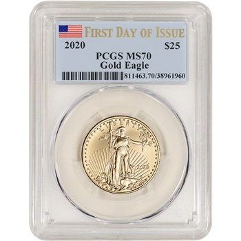 2020 American Gold Eagle 1/2 oz $25 - PCGS MS70 First Day of Issue