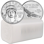 2020 American Platinum Eagle 1 oz $100 - 1 Roll Twenty 20 BU Coins in Mint Tube